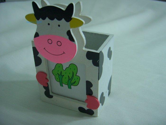 Wooden Cartoon Cow Pen and Pencil Holder Memo Clip Photo Frame 3 in 1
