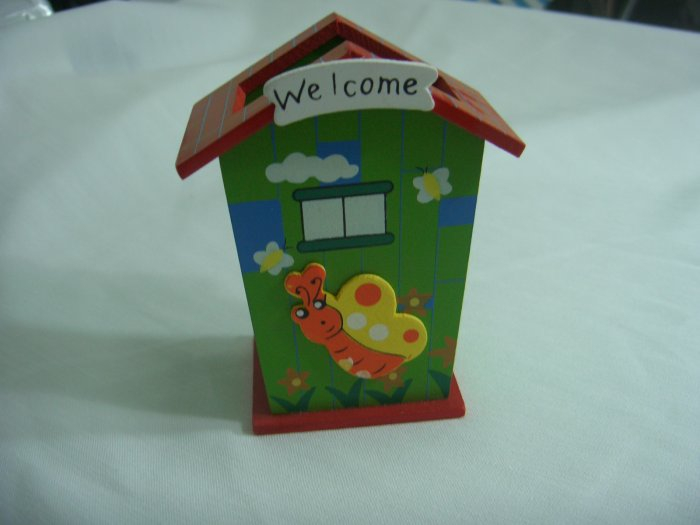 Wooden Red Cartoon House and Beetle  Pen and Pencil Holder