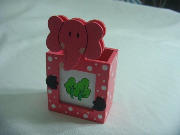 Wooden Pink Elephant Memo Clip Photo Frame Pen and Pencil 3 in 1