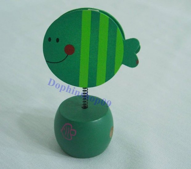 Wooden Green Fish Name Card Memo Clip Pencil Sharpener 2 in 1