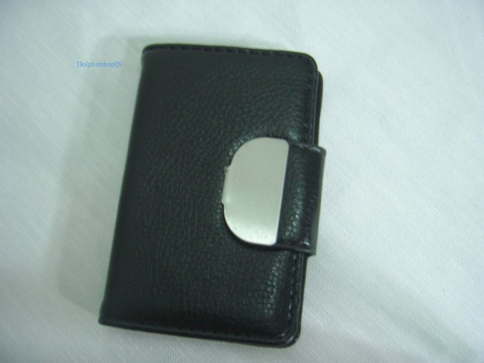 Black Leather Business Name Card Holder