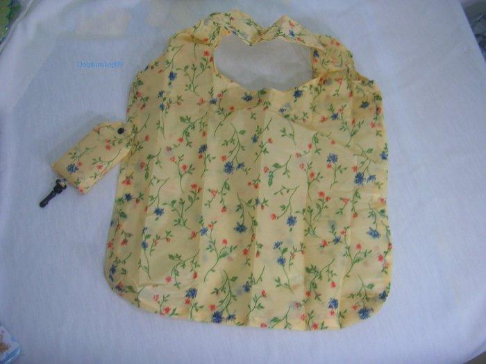 Pocket Foldable Beige Flower Nylon Shopping Eco Tote Bag
