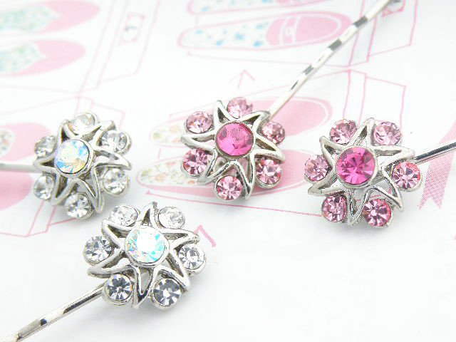 Vintage Crystal Flower Thread Clip  4Colors 1pc