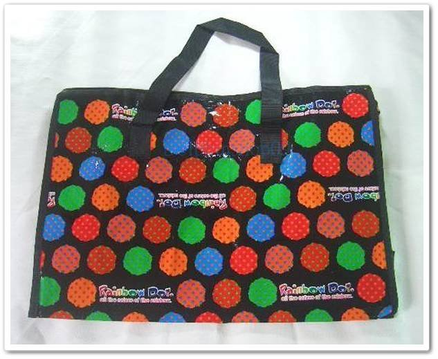 Black Colorful Dot Travel Luggage Eco Tote Shpping Bag