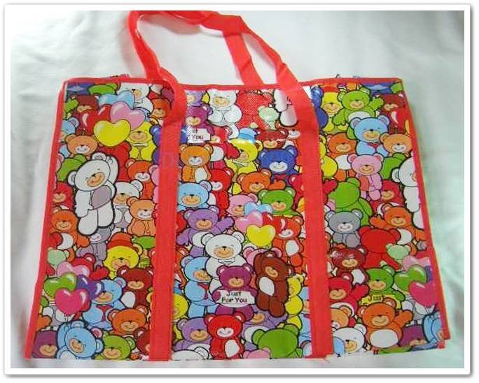 Red Bear Luggage Nylon Travel Eco Shopping Tote Bag