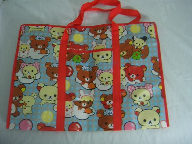 Red Baby Bear Luggage Nylon Travel Eco Shopping Tote Bag
