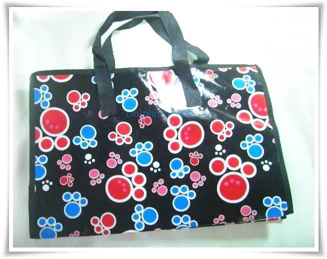 Black Colorful Footprint Nylon Luggage Tote Shopping Tote Bag