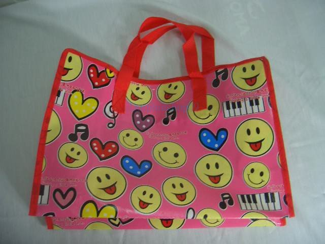 Pink Smile Face Nylon Travel Luggage Tote Shopping Eco Bag