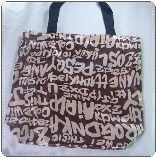 Brown Letter Canvas Shopping Eco Tote Bag