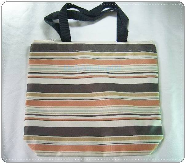 Beige Brown Yellow Strip Canvas Shopping Eco Tote Bag