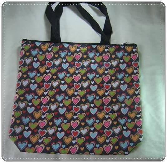 Black Colorful Heart Eco Tote Shpping Bag
