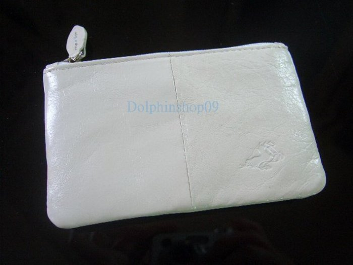 White Leather Key Purse Holder Coin Bag 2 in in