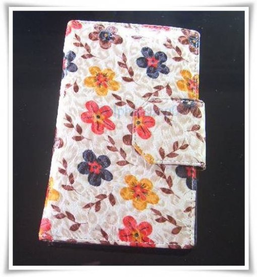 Beige Flower Patent Leather Wallet store Credit Card