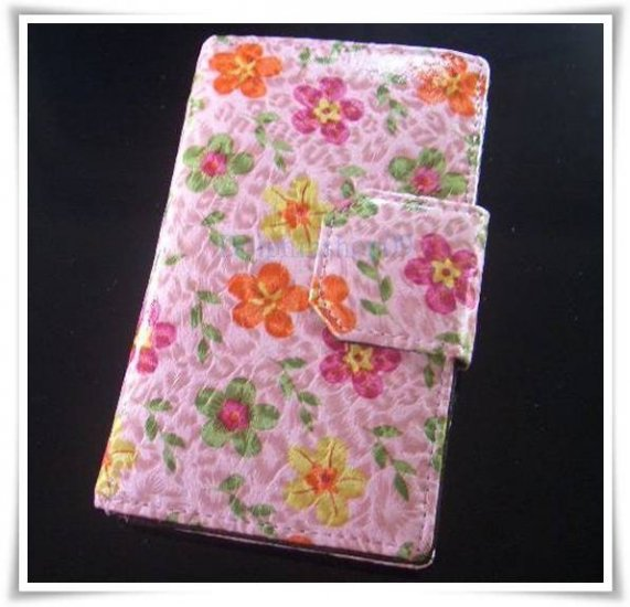 Pink Flower Patent Leather Wallet Purse Store Credit Card Coin