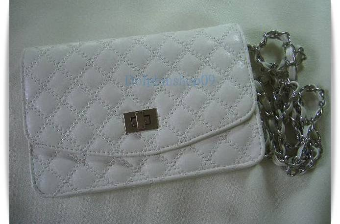 White Leather Messengaer Clutch Bag  2 in 1