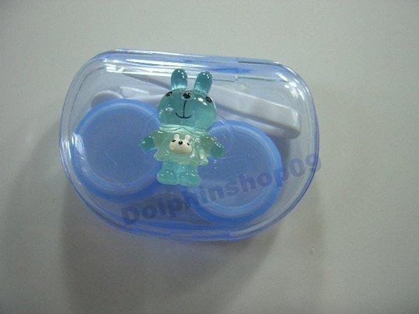Blue Transparent Rabbit Contact Lens Case Box Set