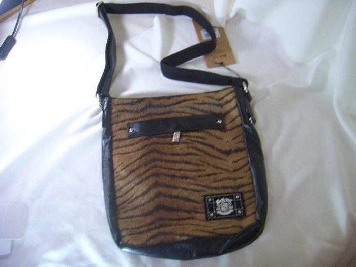 Black Brown PU Leather  Tiger Messenger Bag
