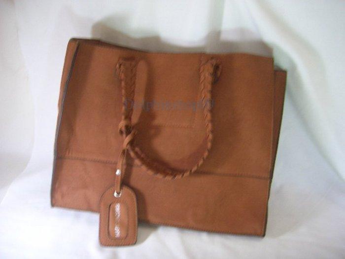 Brown Leather Shoulder Bag Tote Handbag  2 in 1