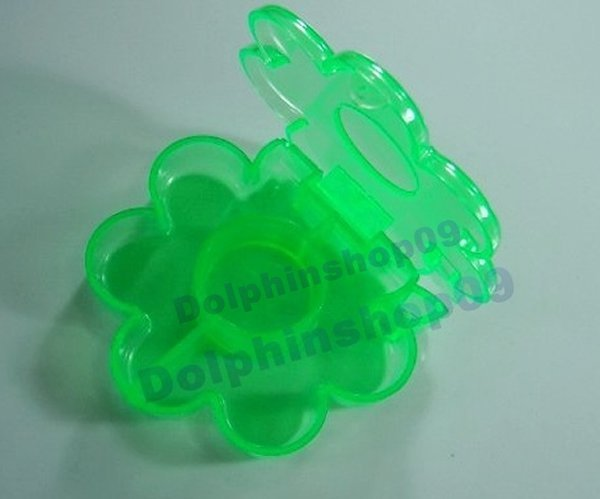 Green Transparent Flower Medicine Pill Tablet Storage Box Case