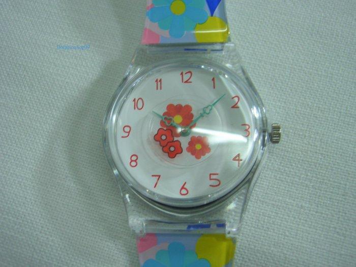 Colorful Flower Round Case Plastic Quartz  Wrist Watch w/ Battery