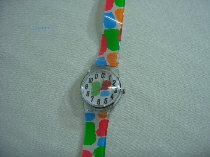 Colorful Dots Round Case Plastic Quartz  Wrist Watch w/ Battery