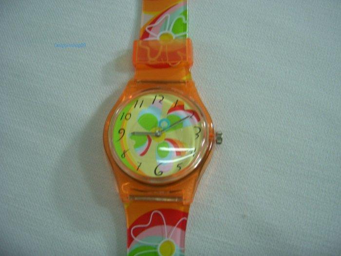 Orange Round Case Plastic Quartz  Wrist Watch
