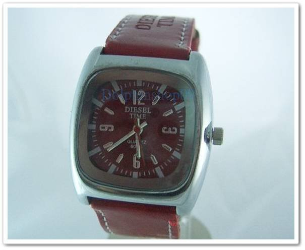 Red Square Case Leather Band Arabic Wrist Watch