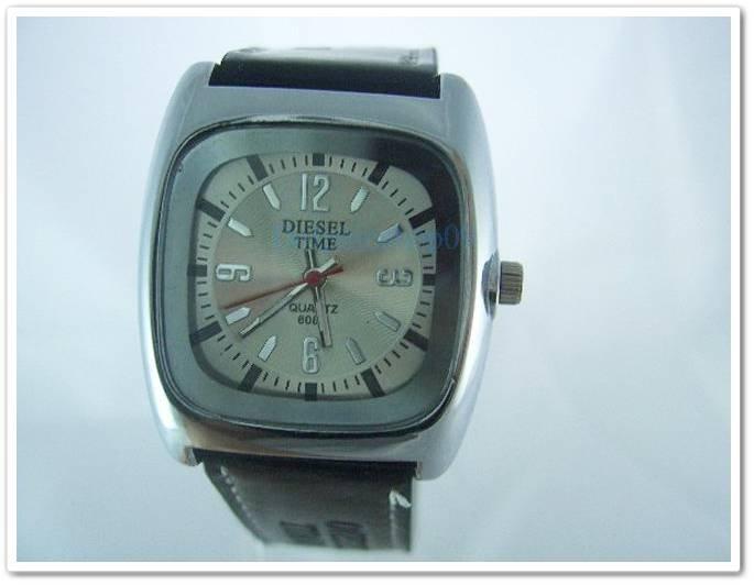 Square White Case Black Leather Band Arabic Wrist Watch