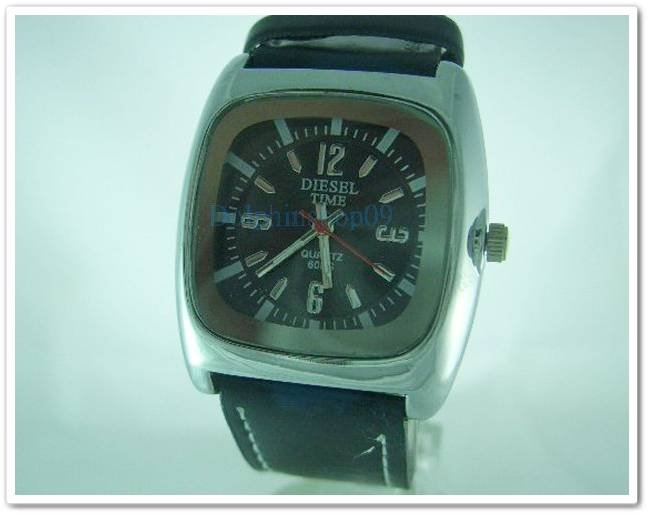 Black Square Case Leather Band Arabic Wrist Watch