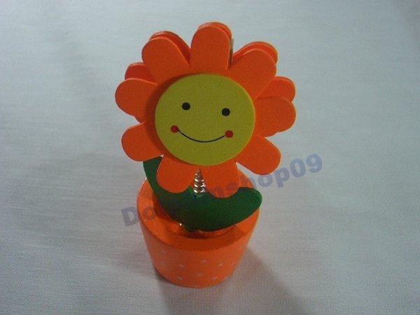 Orange Wooden Desktop  Flower Memo Name Card  Clip