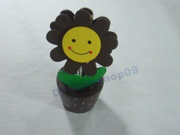 Brown Wooden Desktop  Flower Memo Name Card  Clip