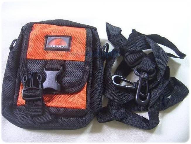 Mini Orange Nylon Travel Pack Pouch Waist Bag Case