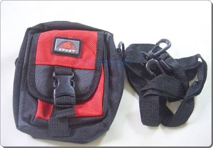 Mini Red Nylon Travel Pack Pouch Waist Bag Case