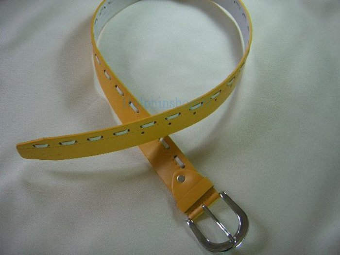 Yellow Thick Leather Waist Belt 32inch - 37inch