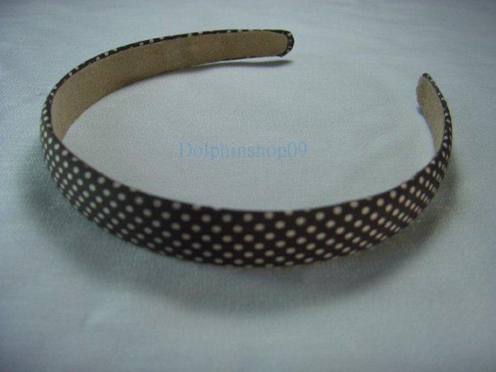 Brown White Dot Hair Head Band