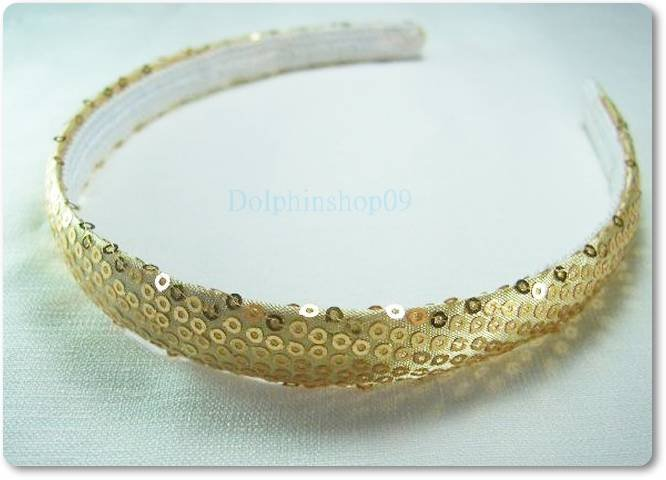 Shining Slim Yellow Gold Dot Hair Head Band