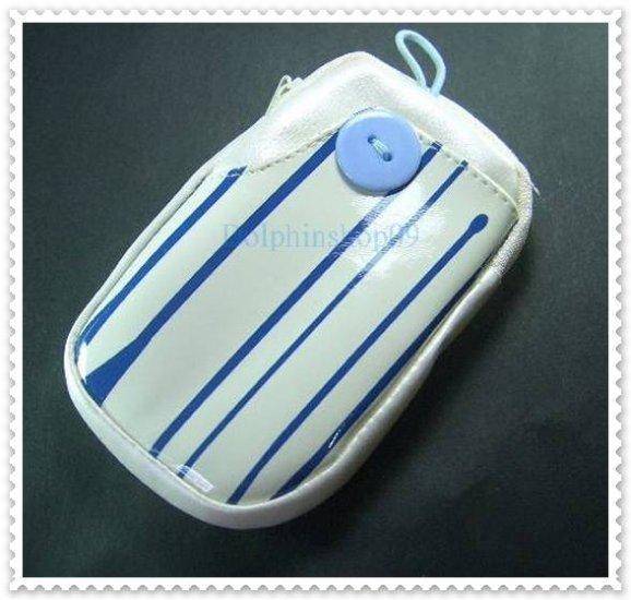 Beige Blue Strip Cell Phone Bag Button Case Pouch w/ Strap