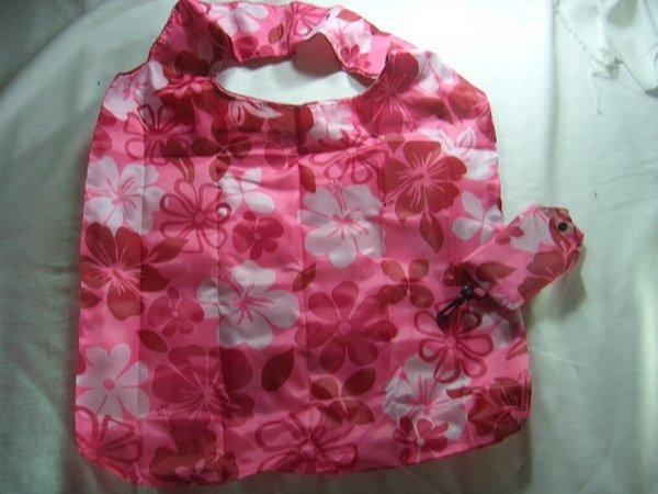 Pocket Foldable Pink Flower Nylon Shopping Eco Tote Bag