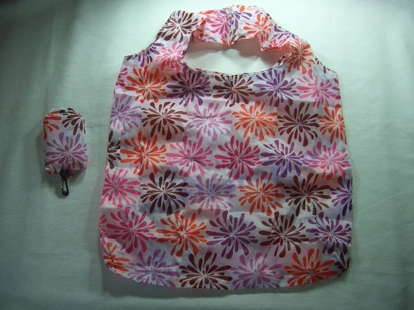 Pocket White Colorful Flower Eco Tote Bag with Clip