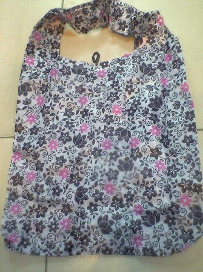 Pocket black and pink flower Tote Eco Bag