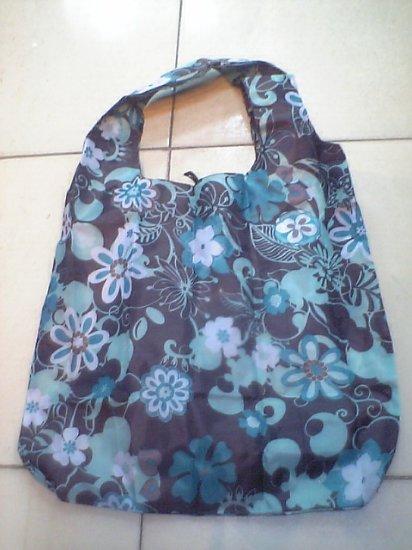 Pocket Blue White Flower Tote Eco Bag