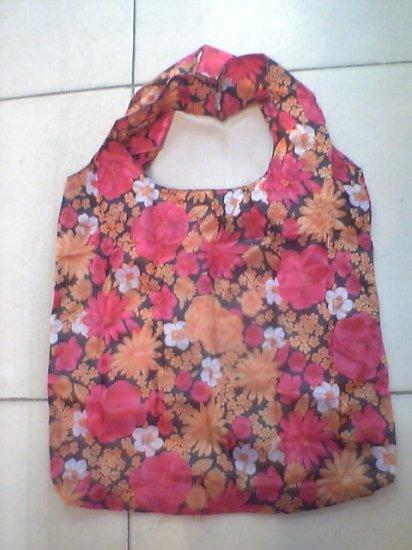 Pocket Red Orange Flower Tote Eco Bag