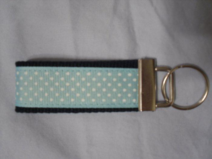Navy Blue and Light Blue Polka Dot Key Fob