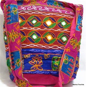 Bohemian Style Gypsy Boho Bag with Hand Embroidered Elephant Design