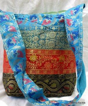 Bohemian Style Indian Jacquard Multi Color Silk Hand Bag