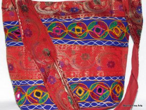 Bohemian Style Indian Jacquard Multi Color Silk Hand Bag with Mirrorwork