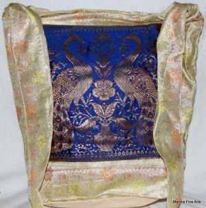 Bohemian Style Indian Jacquard Silk Hand Bag with Peacock Design