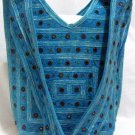 Bohemian Style Boho Gypsy Blue Shoulder Bag Purse with Mirrorwork