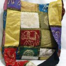 Bohemian Style Silk Hand Bag with Golden Block Print