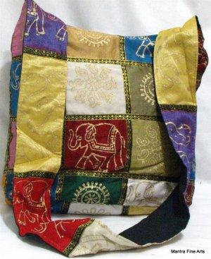 Bohemian Style Silk Hand Bag with Golden Block Print